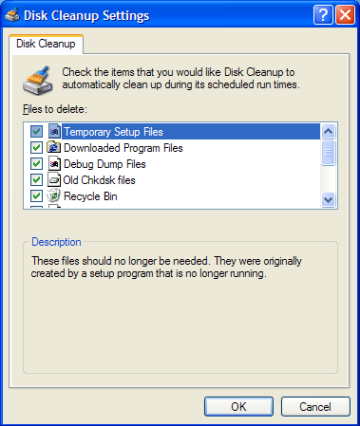 how to delete compress old files windows xp
